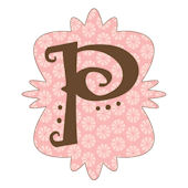 Mod Monogram Pink and Chocolate P Wall Sticker