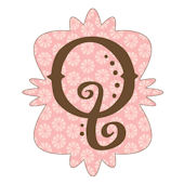 Mod Monogram Pink and Chocolate Q Wall Sticker