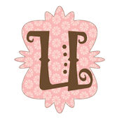 Mod Monogram Pink and Chocolate U Wall Sticker