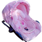 Nollie Pink Satin Green Infant Car Seat Cover