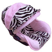 Nollie Pink Zebra Infant Car Seat Cover