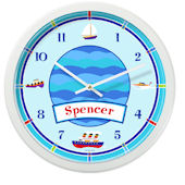 Olive Kids Boats And Buoys Personalized Clock