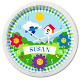 Olive Kids Happy Flowers Personalized Clock