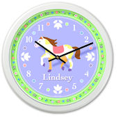 Olive Kids Patchwork Ponies Personalized Clock
