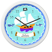 Olive Kids Pirates Personalized Clock