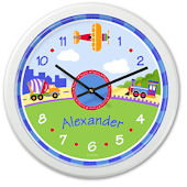Trains Planes And Trucks Personalized Clock
