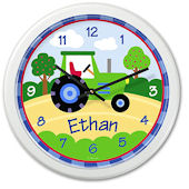 Trains Plane And Trucks Tractor Personalized Clock