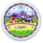 Trains Planes And Trucks Train Personalized Clock