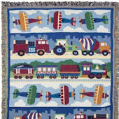 Olive Kids Trains Planes And Trucks Woven Throw