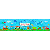 Animal Choo Choo Birthday Banner