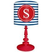 Oopsy Daisy Striped Monogram Blue and Red Lamp