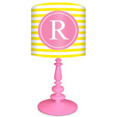 Oopsy Daisy Striped Monogram Yellow and Pink Lamp