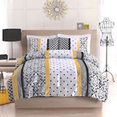 Black And Yellow Dot Stripe Quilt Set