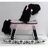 Black and White Damask Rocking Horse  Pink Tulle