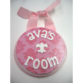 Ribbon Made Personalized Girl Door Hanger