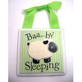 Ribbon Made Green Baby Sleeping Door Hanger