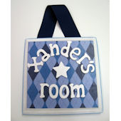 Ribbon Made Personalized  Boy Door Hanger