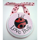 Ribbon Made Pink Love Bug Door Hanger