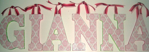 Pink and White Damask Decoupaged Wall Letters