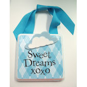 Ribbon Made Sweet Dreams Blue Argyle Door Hanger