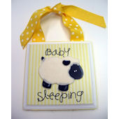 Ribbon Made Yellow Baby Sleeping Door Hanger