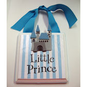 Ribbon Made Little Prince Baby Nursery Door Hanger