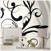 Black and White Scroll XL Wall Mural