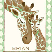 Giraffe Family Green Canvas Wall Art