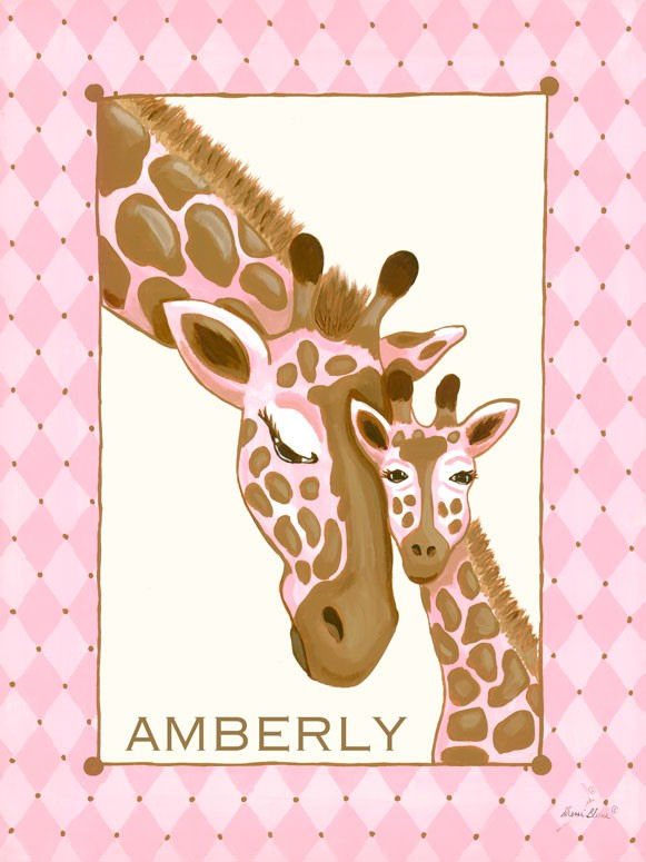 Giraffe Family Pink Canvas Wall Art