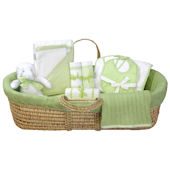 Cable Knit Moses Basket Gift Set in Green