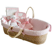 Cable Knit Moses Basket Gift Set in Pink