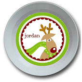 Funky Reindeer Personalized Bowl