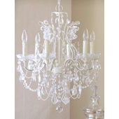 6 Arm Leafy Antique White Crystal Chandelier
