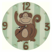 Wish Upon A Star Green Monkey  Wall Clock