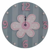 Wish Upon A Star Pink And Gray Flower  Wall Clock