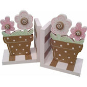 Wish Upon A Star Pink Brown Flower Pot Bookends