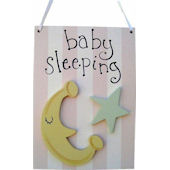 Wish Upon A Star Moon and Star Girl Door Hanger
